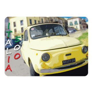 Vintage Travel Fiat 500 Cinquecento, Italy, Yellow 5x7 Paper Invitation Card