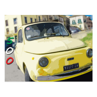 Vintage Travel Fiat 500 Cinquecento, Italy, Yellow Postcard