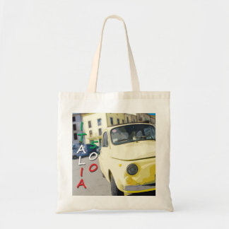 Vintage Travel Fiat 500 Cinquecento, Italy, Yellow Tote Bag