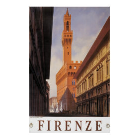 Vintage Travel, Firenze, Florence, Palazzo Vecchio Print