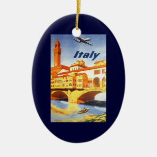 Vintage Travel Florence Firenze Italy Bridge River Ceramic Ornament