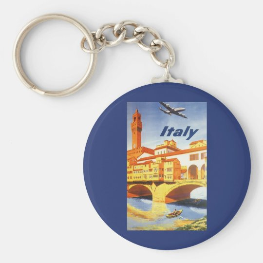 Vintage Travel Florence Firenze Italy Bridge River Keychain