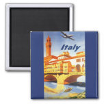 Vintage Travel Florence Firenze Italy Bridge River 2 Inch Square Magnet