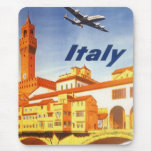 Vintage Travel Florence Firenze Italy Bridge River Mouse Pad