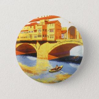 Vintage Travel Florence Firenze Italy Bridge River Pinback Button