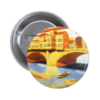 Vintage Travel Florence Firenze Italy Bridge River Pinback Button