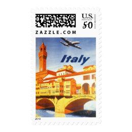 Vintage Travel Florence Firenze Italy Bridge River Postage