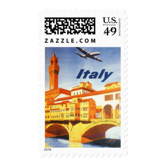 Vintage Travel Florence Firenze Italy Bridge River Postage