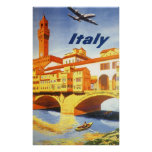 Vintage Travel Florence Firenze Italy Bridge River Poster