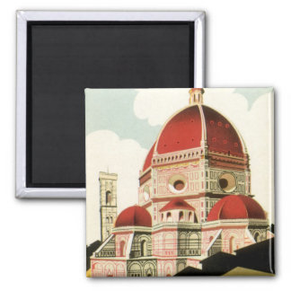 Vintage Travel Florence Firenze Italy Church Duomo 2 Inch Square Magnet