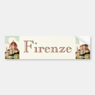 Vintage Travel Florence Firenze Italy Church Duomo Bumper Sticker
