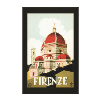 Vintage Travel Florence Firenze Italy Church Duomo Canvas Print
