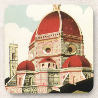 Vintage Travel Florence Firenze Italy Church Duomo Coaster