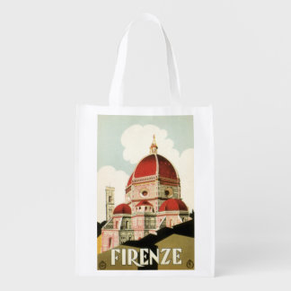 Vintage Travel Florence Firenze Italy Church Duomo Grocery Bag