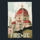 "Vintage Travel Florence Firenze Italy Church Duomo Hand Towel<br><div class=""desc"">Vintage illustration European travel poster or luggage label from Florence,  Italy featuring the Cattedrale di Santa Maria del Fiore,  Florence&#39;s Cathedral or Duomo. Classic Italian religious architecture.</div>"
