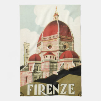Vintage Travel Florence Firenze Italy Church Duomo Hand Towel