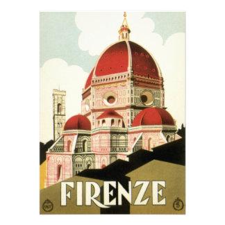 Vintage Travel Florence Firenze Italy Church Duomo Custom Invitations