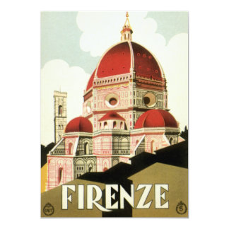 Vintage Travel Florence Firenze Italy Church Duomo 5x7 Paper Invitation Card