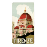 Vintage Travel Florence Firenze Italy Church Duomo Custom Shipping Labels
