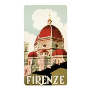 Vintage Travel Florence Firenze Italy Church Duomo Shipping Label