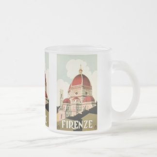Vintage Travel Florence Firenze Italy Church Duomo 10 Oz Frosted Glass Coffee Mug