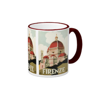 Vintage Travel Florence Firenze Italy Church Duomo Ringer Coffee Mug