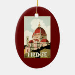 Vintage Travel Florence Firenze Italy Church Duomo Double-Sided Oval Ceramic Christmas Ornament