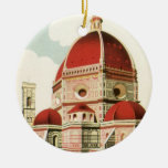 Vintage Travel Florence Firenze Italy Church Duomo Double-Sided Ceramic Round Christmas Ornament