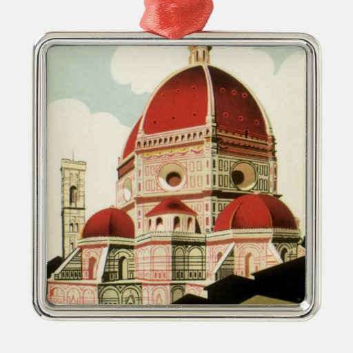 Vintage Travel Florence Firenze Italy Church Duomo Square Metal Christmas Ornament