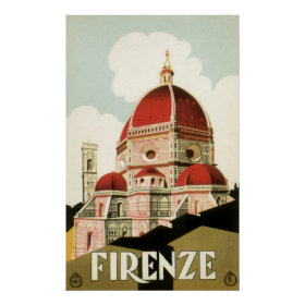 Vintage Travel Florence Firenze Italy Church Duomo Poster