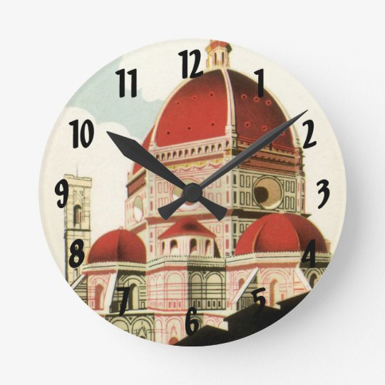 Vintage Travel Florence Firenze Italy Church Duomo Round Clock