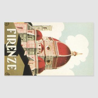 Vintage Travel Florence Firenze Italy Church Duomo Rectangular Stickers