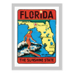 Vintage Travel Florida FL State Label Post Card