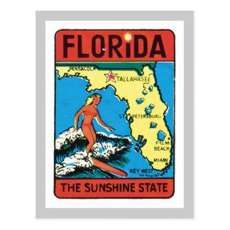Vintage Travel Florida FL State Label Postcard