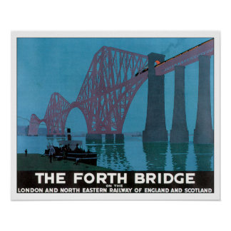 Vintage Travel Forth Bridge England Poster