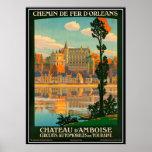Vintage travel France,  Amboise Castle - Poster