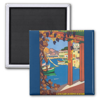 Vintage Travel French Riviera Poster Mediterranean 2 Inch Square Magnet