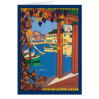 Vintage Travel French Riviera Poster Mediterranean Card
