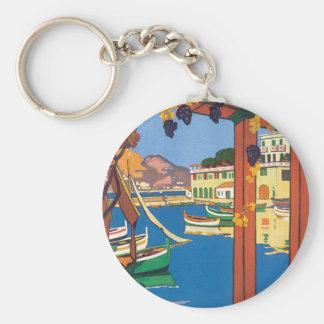Vintage Travel French Riviera Poster Mediterranean Keychain