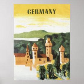 Vintage Travel, German Castle, Bavaria Germany Poster