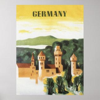 Vintage Travel German Castle Bavaria Germany Poster