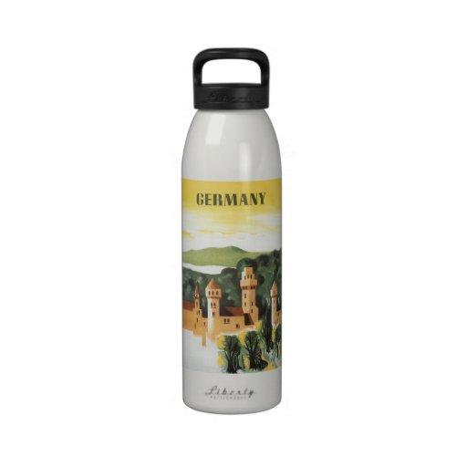 Vintage Travel, German Castle, Bavaria Germany Water Bottle