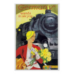 Vintage Travel Germany by Train Ad Poster