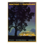 Vintage Travel, Germany, Yellow Bus at Night Greeting Cards