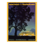 Vintage Travel, Germany, Yellow Bus at Night Postcards