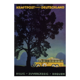 Vintage Travel, Germany, Yellow Bus at Night Posters