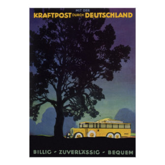 Vintage Travel, Germany, Yellow Bus at Night Poster