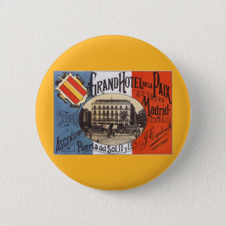 Vintage Travel, Grand Hotel Paix, Madrid, Spain Button