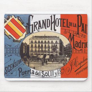 Vintage Travel, Grand Hotel Paix, Madrid, Spain Mouse Pad