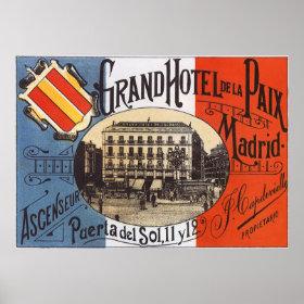 Vintage Travel, Grand Hotel Paix, Madrid, Spain Posters